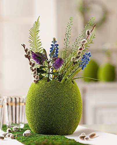 Pflanz-Ei Moos aus Terracotta, grün, Osterei, Blumentopf, Pflanzschale
