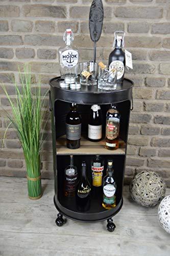 Livitat® Minibar Hausbar Regaltonne Ölfass H80 cm Industrie Look Loft Vintage LV5029 (Schwarz)