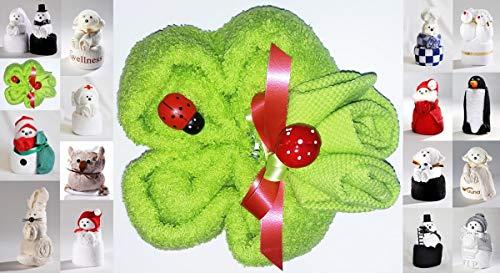 HK-Kleinmann Frottier Geschenk Set Handarbeit Origami Gästetuch Handtuch Waschhandschuh, Motiv/Art:Kleeblatt