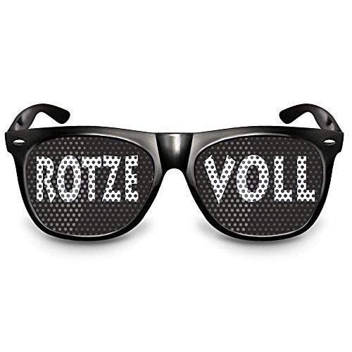 COOLEARTIKEL Karneval / Fasching Party-Brille Spaß-Brille mit Motiv 'Rotze Voll', bedruckte Sonnenbrille als lustiges Accessoire für dein Kostüm (Nerdbrille schwarz)