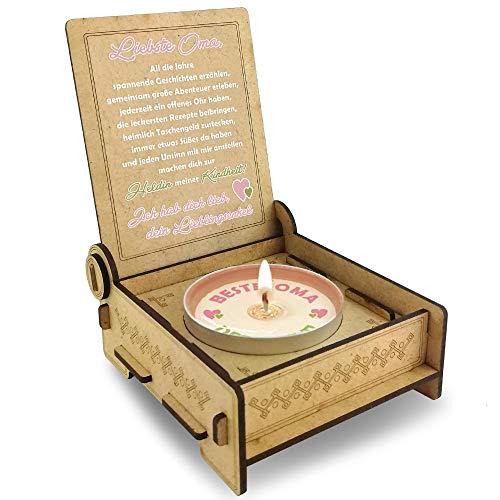 Candle IN THE BOX Oma von Enkel, für die Beste Oma der Welt, Danke Oma Geschenkidee, Geburtstagsgeschenk, Kerze mit Spruch, Teelicht zum Geburtstag