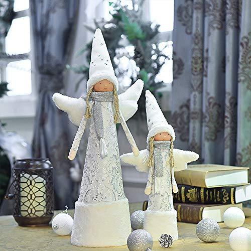 Valery Madelyn Stoff Weihnachtsdekoration Stehender Engel Puppe Winter Dekofigur 40/ 55cm 2er Set Weihnachten Deko Figur mit Wintermütze und Flügel Tischdekoration Weiß Silber MEHRWEG Verpackung