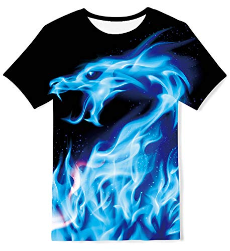 Kids4ever Jungen Mädchen T-Shirts Lustige 3D Galaxis Drachen Grafik Kurzarm Tee Shirts Kinder Sommer Casual Party Hemden Tops,A1-galaxy Dragon,6-8 Jahre (Tag S)