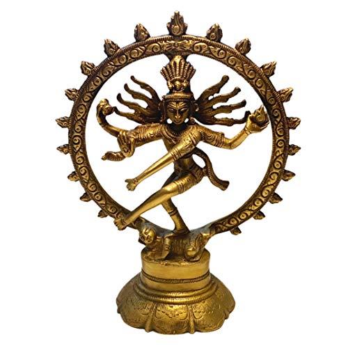 Shiva Figur Messing 20 cm Indischer Gott tanzende Shiva Nataraja im Rad   Hinduismus Religiöse Statue Herr des Tanzes Natraj Dekofigur Feng Shui Esoterik Geschenke