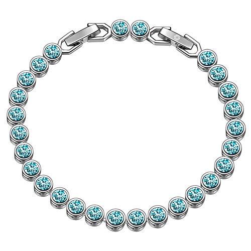Susan Y Valentinstag Geschenk für sie tennis armband frauen schmuck damen schmuckkästchen geschenke für frauen mama personalisierte geschenke freundschaftsarmband frauen(Heller Türkis)