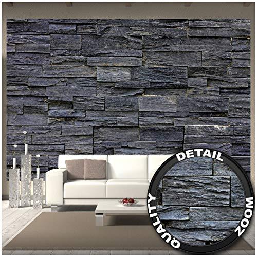 GREAT ART Fototapete – 3D Effekt Black Stonewall – Wandbild Dekoration Tapete in Steinoptik schwarz Steinwand Wohnzimmer 3D Tapete Stein Foto-Tapete Wandtapete (336 x 238 cm)