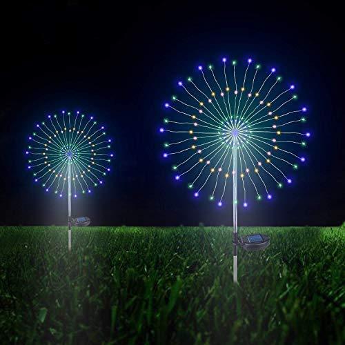 Solarleuchten Garten Deko, 105 LED Solar Feuerwerk Licht Bunt, DIY Kupferdraht Solar Gartenstecker Licht Wetterfest Dekorative für Außen Garten Rasen Balkon(Bunt, 2 Pack)