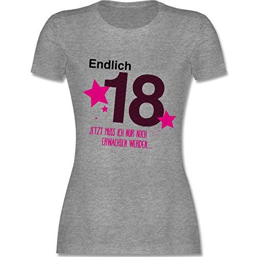 Geburtstag - Endlich 18 - M - Grau meliert - L191 - Damen Tshirt und Frauen T-Shirt