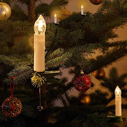 Kerzen Lichterkette, THOWALL 15.5M 50er LED Weihnachtsbaum Lichterkette mit Klemmen, Flammenloses LED Kerzen Dekoration für Weihnachtsbaum, Weihnachtsdeko, Hochzeit, Geburtstags, Party, Warmweiß