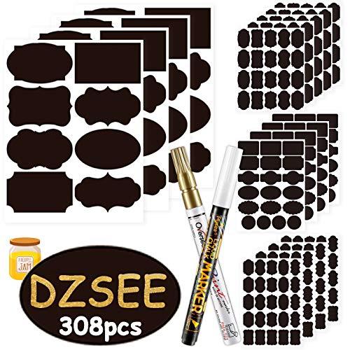 DZSEE® 308x Tafeletiketten Selbstklebend 2x Löschbar Kreidemarker, Etiketten Selbstklebend für Gläser, Tafel Aufkleber, Dekorative Sticker für Küche Gewürzgläser, Marmeladen, Flaschen