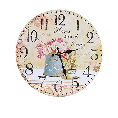YORKING 30CM Zuhause Vintage Wanduhr klein Analog Küchenuhr Home Sweet Shabby Wohnzimmer Blumen Nostalgie Stille Wanduhr