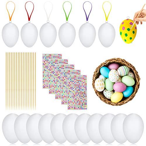 Datyeco 50 Ostereier zum Bemalen Plastikeier zum Bemalen, Ostereier Bemalen Ostereier Plastik Eier zum Bemalen, Plastik Ostereier Weiße Plastikeier Eier Ostern zum Aufhängen