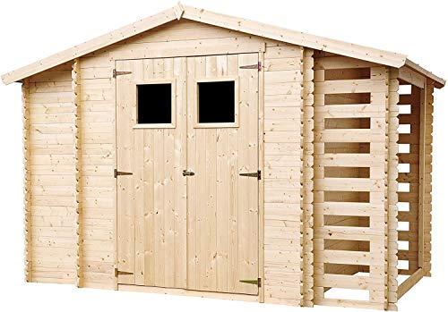 TIMBELA Holzhaus Gartenhaus mit Brennholzschuppen M389 - Gartenschuppen Holz B328xL206xH218 cm/ 3,53 + 0,97 + 0,97 m2 Lagerschuppen für Garten - Fahrrad Schuppen - Wasserfestes Dach