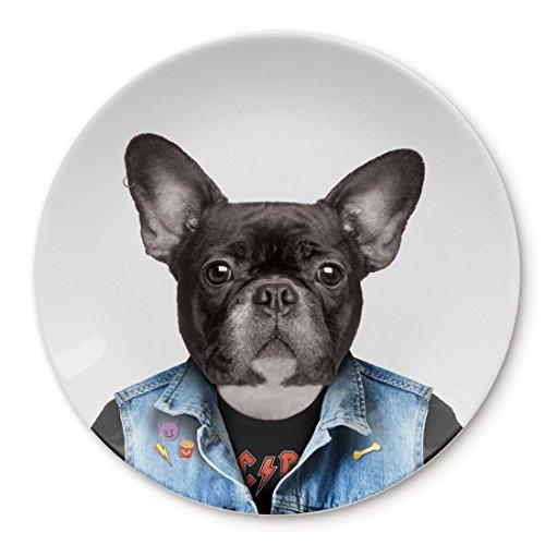MUSTARD - Wild Dining Dog Dinner Plate I Keramik Teller I 100% Keramik I Runder Essteller I besonders I lustiger Speiseteller I Teller mit Tierprint I Geschenkidee für Studenten - Cooler Hund