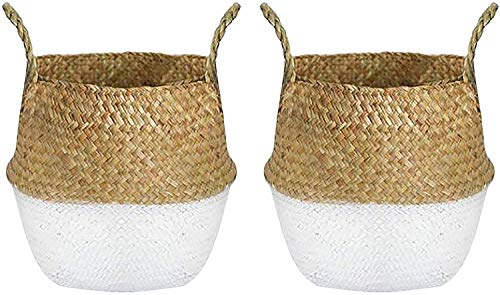 Lawei 2 Stück Naturkorb Seegras Blumenkorb Handgewebt Ablagekorb Wäschekorb mit Griffen für Pflanze Blumen Spielzeug Lagerung - Weiß, L