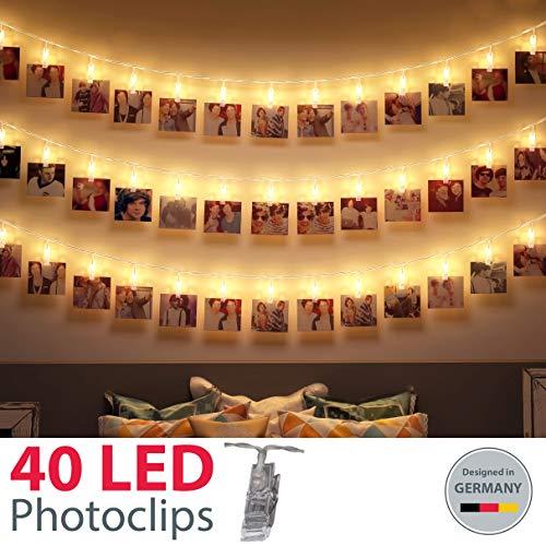 B.K.Licht LED Fotolichterkette I 40 LED Photoclips I Foto Lichterkette | Batterie betrieben
