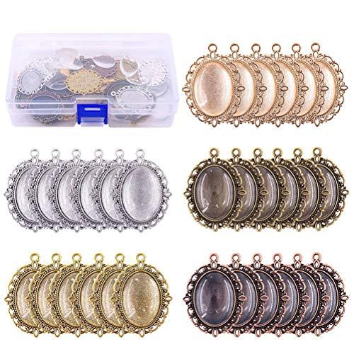 Supvox 60 Stücke Lünette Anhänger Tablett mit Glas Cabochon Rohlinge für Foto Anhänger DIY Halskette Schmuckherstellung