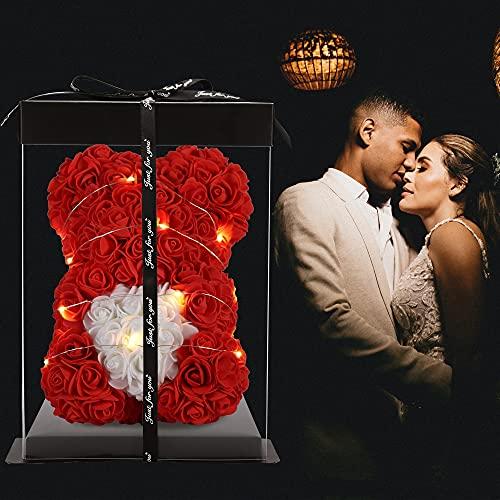 Geschenke für Frauen - Rosenbär - Rosenblumenbär Handgemachte Rose Teddybär - Geschenk für Valentinstag, Muttertag, Hochzeit und Jubiläum & Brautduschen (red, 10inch)