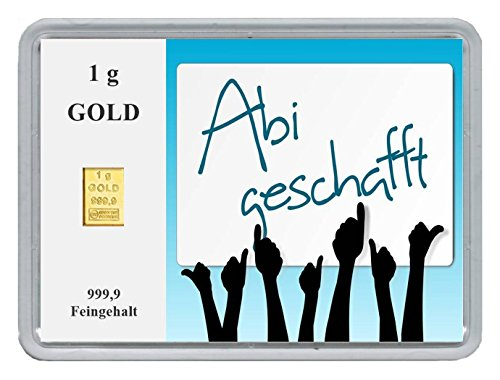 New Edition 1g Goldbarren 999,9 Feingold in Motivbox'Abitur .' in edler Goldverpackung