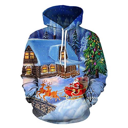 Batnott Herren Weihnachtspullover Oversize Weihnachten Blau Kleidung Pulli Große Größen Hoodie Geschenk für Männer Langarm Christmas Casual Lustig Sweatshirt Mit Kapuze Xmas Party Outdoor XXXL