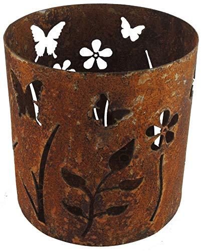 Windlicht Kerzenhalter Groß Rost Edelrost Metall - Motiv Blumenwiese - Gartendeko