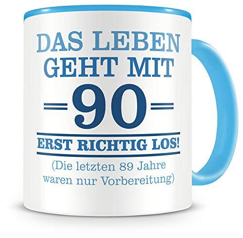 Samunshi® Tasse mit Spruch witzige Geschenke zum 90 Geburtstag Mann Frau Oma Opa Geburtstag Geschenkideen zum 90 Geburtstag (90 Jahre 300ml hellblau/hellblau)