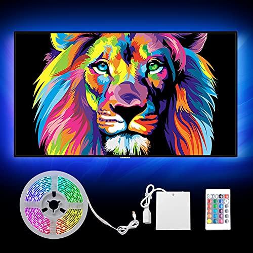 2m RGB LED Lichtband USB mit Zusätzlicher Batteriestützbox, 60 LED Streifen für Deko Schneidbar, Selbstklebend, Fernbedienung mit 24 Tasten, Timer, Dimmbar für TV Party Wohnzimmer Küche (Mehrfarbig)