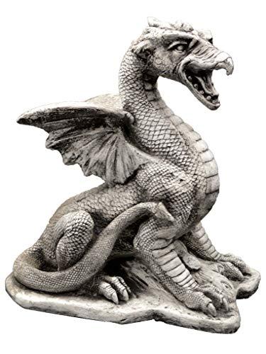 gartendekoparadies.de Massive Steinfigur Drachen Dragon aus Steinguss frostfest