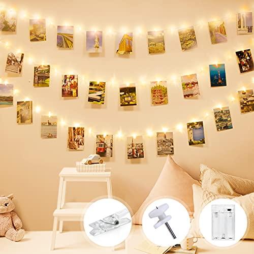 Lichterkette mit Klammern für Fotos, Litogo Foto Lichterkette Bilder 10M 100 LED Fotoclips Lichterkette Wand Innen Batterie 60 Clips Fotolichterketten für Zimmer, Kinderzimmer Wohnzimmer Deko Warmweiß