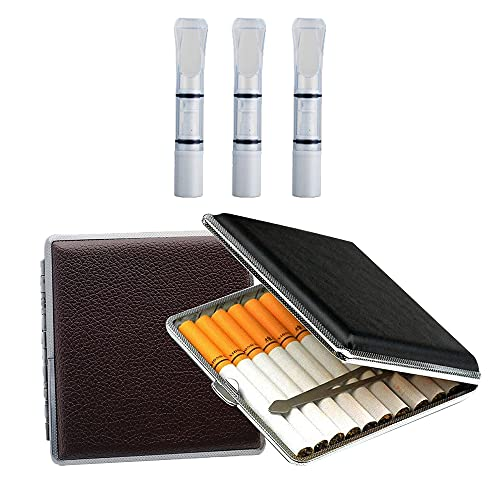 Gobesty Zigarettenetui Metall Leder, 2 Stück Leder Metall Zigarettenetui, mit Schnappverschluss und 3 Filter, Zigarettenbox für Drehzigaretten Filterzigaretten (Schwarz, Braun)