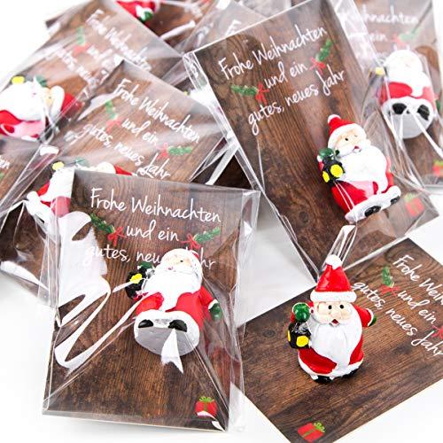 20 kleine mini Geschenke Santa Nikolaus Weihnachtsmann rot weiß grün MIT KARTE - give-away Mitgebsel Weihnachten Präsent Kunden Kollegen Mitarbeiter Freunde Glücksbringer