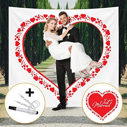 Fairytale Wedding  Hochzeitsherz zum Ausschneiden für Brautpaar - Hochzeitsherz auf bedrucktem Bettlaken - Hochzeitsgeschenk und ideales Hochzeitsspiel