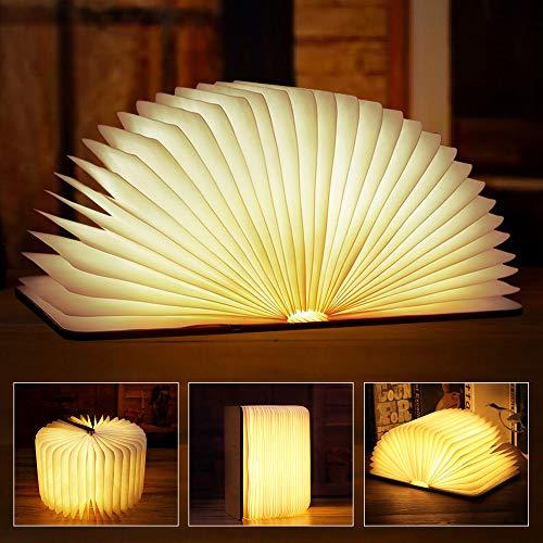 solawill LED Buchlampe, Faltbare Buch Lampe Holz mit 4 Farben und Timer Stimmungsbeleuchtung, USB Wiederaufladen Nachttischlampe Dekorative Lampen für Kinder Geschenk Weihnachten Home Decor