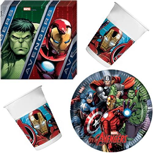 The Mighty Avengers Set von Marvel Party-Set 36 teilig Servietten Teller Becher Kinder Geburtstag Party Set für 8 Kinder