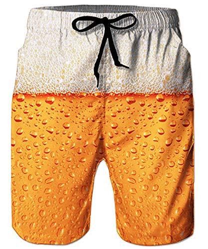 ALISISTER Badeshort Herren 3D Bier Druck Sommer Badehose Elastische Taille Strandshorts Beiläufig Jogginghose Sporthose für Herren L