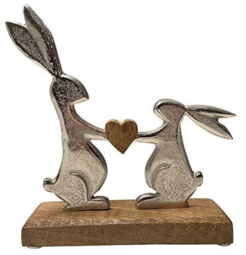 khevga Osterdeko Deko-Figur Osterhase Mango-Holz Metall Silber (19 x 20 x 5 cm)