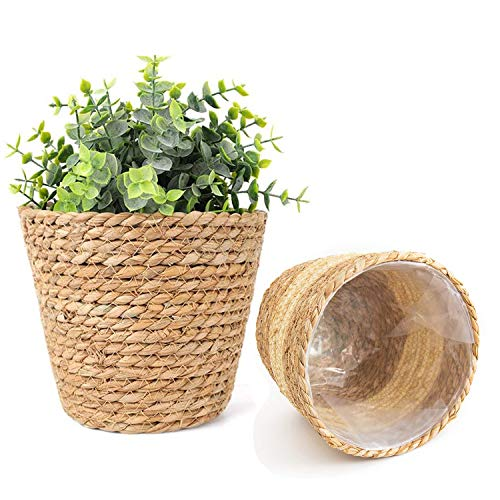 7WUNDERBAR Seegras Korb Pflanzenkörbe Blumenkorb Blumentopf Pflanzkorb Pflanzentöpfe Übertöpfe Aufbewahrungskorb 18cm 2er Set für drinnen und draußen