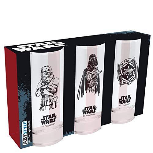 ABYstyle Star Wars - 3er Set Gläser Dark Vador, Stormtrooper und Tie Fighter