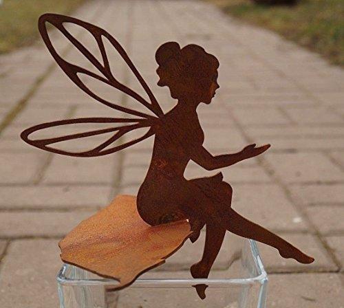 Unbekannt Edelrost Fee Fabienne sitzend auf Blatt 17cm filigran Gartendeko Figur Elfe