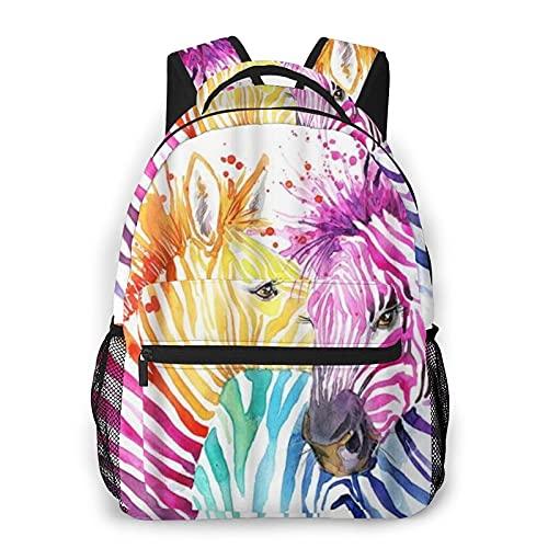 COVASA Casual Schulrucksack Reise Bookbag,Buntes Zebra Aquarell Tierbild Lustiges Zebra,Leichter Großer Schüler Kind Erwachsener Rucksack Für 15,6' Laptop