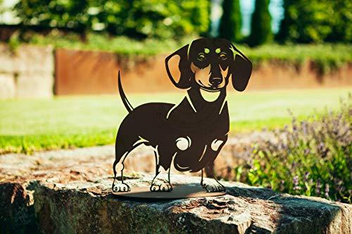 Ferrum Metallfigur Edelrost Figur Dackel Hund Wasti Skulptur Gartenfigur Tierfigur Rost