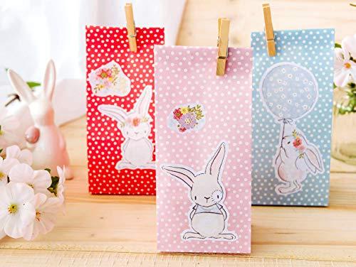 Papierdrachen 12 Osternester für Kinder und Erwachsene - DIY Osterkörbchen zu Ostern - Motiv Osterhase - Ostergeschenke für Kinder - Set 9