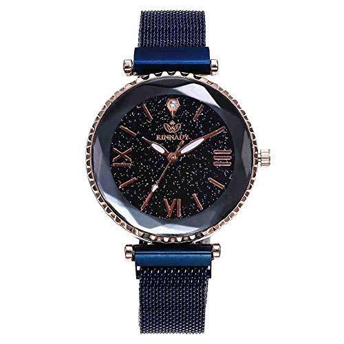DECTN Armbanduhr für Damen, luxuriös, modisch, elegant, Magnetschnalle, vibrierend, violett, Sternenhimmel, römische Ziffern, Geschenk, blau, Band