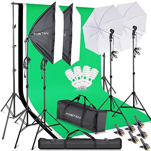 FOSITAN 2.8M x 3M / 9.2ft x 9.8ft Professionelles Fotostudio-Set Hintergrund Stützsystem Softbox Dauerlicht Set 800W 5500K Regenschirm mit 2M-Stativ für Porträts, Produktfotografie und Videoaufnahme