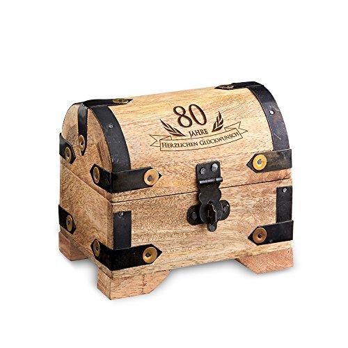 Casa Vivente Kleine Schatztruhe zum 80. Geburtstag, Schmuckkästchen mit Gravur, Aufbewahrungsbox aus hellem Holz, Verpackung für Geldgeschenke