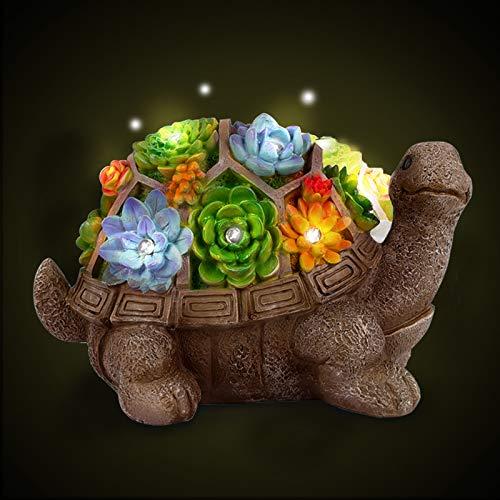 Herefun Gartenfiguren, Gartendeko Schildkröte Solar Leuchte, Schildkröte Gartenfigur, Solarbetriebenen Lampen Dekoration LED Gartenleuchte mit Aus Kunstharz Wasserdicht für Balkon Garten (Typ 1)