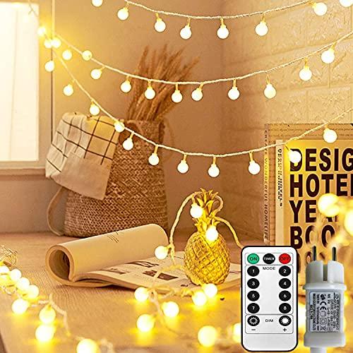 Lichterkette Kugeln 33Ft 100 LED,Globe Lichterketten mit Stecker für Innen und Außen,8 Modi mit Fernbedienung für Die Schlafzimmerdekoration Innen,Hochzeit,Garten,Weihnachts Dekoration (Warmweiß)