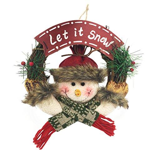 OULII 20cm Weihnachtskranz Adventskranz Tür Rattan Kranz willkommen türschild Weihnachtsdeko Anhänger (Schneemann)