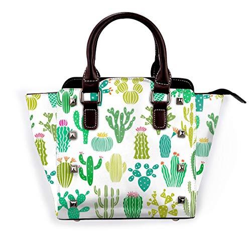 Cactus Sukkulente Aquarell Frauen Mode Echtleder Nieten Schultertasche Mädchen Reise Schule Mini Handtasche, Violett - Kaktuspflanze und Blume - Größe: Einheitsgröße