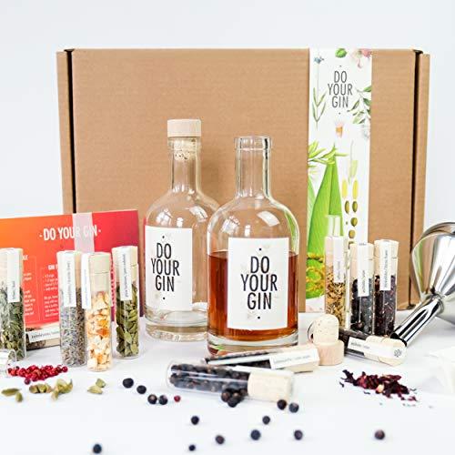 DO YOUR GIN  Komplettes Gin Set - Gin selber-machen - 12 Hochwertige Botanicals in schnen Gewrz-Flaschen - Perfektes Geschenk fr Mnner und Frauen - Gin-Baukasten - 10 Verschiedene Gin Gewrze